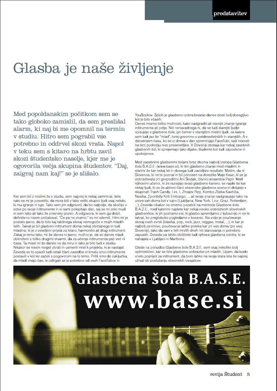 Glasbena šola B.A.S.E. v reviji Študent